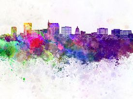 image of boise  - Boise skyline in artistic abstract watercolor background - JPG