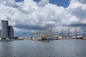 image of historical ship  - Historic ships in Gdynia harbor Poland .