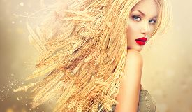 stock photo of cosmetic products  - Beauty Fashion model girl with gold long wheat ears hair - JPG