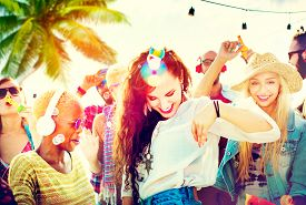 pic of bonding  - Friendship Dancing Bonding Beach Happiness Joyful Concept - JPG