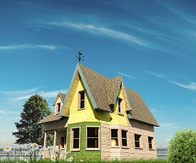 stock photo of victorian houses  - wooden victorian house style in the country - JPG