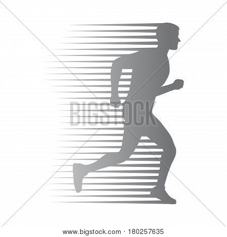 poster of Silhouette of isolated running man with moving lines on white. Athletic logotype of quickly running person. Sport lifestyle colourless vector illustration. Motion movement in cartoon style flat design