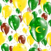 Cocos Islands Independence Day Seamless Pattern. Flying Rubber Balloons In Colors Of The Cocos Islan poster