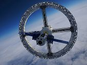 Space station  in outer space Elemen ts of this image furnished by NASA, 3d render poster