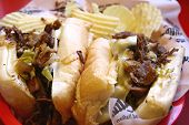 stock photo of cheese-steak  - A closeup of a philly cheese steak sandwich - JPG