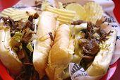 stock photo of cheese-steak  - A closeup of a philly cheese steak sandwich - JPG