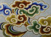picture of ceramic tile  - a Details of the colorful decorated wall - JPG
