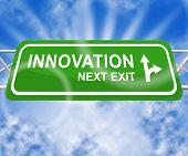 Innovation Sign Shows Innovating Concept 3D Illustration poster