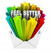 image of feeling better  - An envelope opening to reveal the words Feel Better - JPG