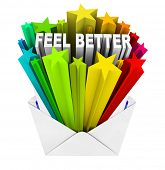 picture of feeling better  - An envelope opening to reveal the words Feel Better - JPG