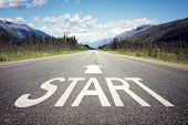 Start line on the highway concept for business planning, strategy and challenge or career path, oppo poster