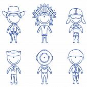 stock photo of valiant  - Cheerful children dressed in costumes of male occupations - JPG