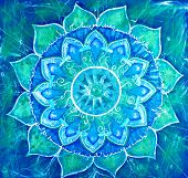 stock photo of indian blue  - abstract blue painted picture with circle pattern mandala of vishuddha chakra - JPG