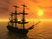 foto of sail ship  - 3D render depicting a tall sailing ship at sunset - JPG