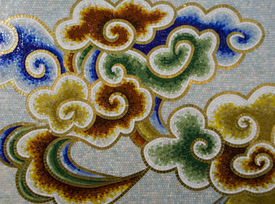 image of ceramic tile  - a Details of the colorful decorated wall - JPG