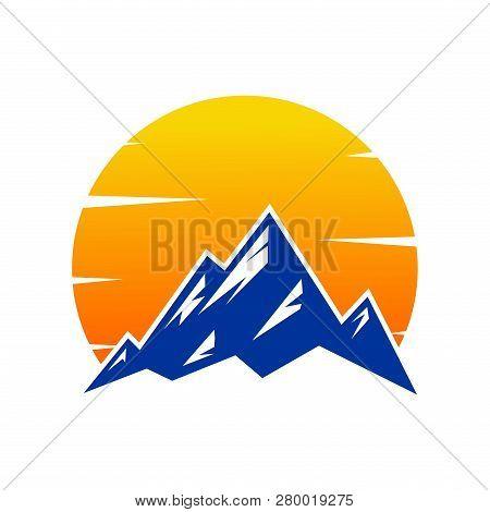 poster of Mountain Sunset, Mountain Logo, Hills Logo, Mountain Symbol, Mountain Icon, Mountain Logo Templat, V