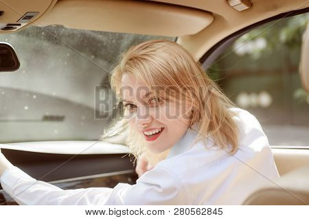 poster of Traveling With Pleasure. Pretty Girl Travel By Automobile Transport. Traveling By Road Transport. Se