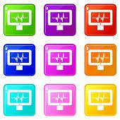 Electrocardiogram Monitor Icons Of 9 Color Set Isolated Illustration poster