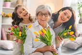 Happy womens day! Child daughter is congratulating mom and granny giving them flowers tulips. Grand poster