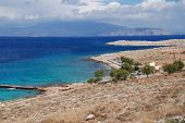 Looking down to Ftenagia beach at Emborio on the Greek island of Halki.
