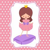 Little Cartoon Character Sweet Princess Vector Card Template. Woman Princess Costume, Avatar Girl Ch poster