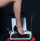 Sexy Legs. Retro Typewriter. Modern Fashion. Fetish Wear Shoes On Leg Of Woman. Seducing You. Love E poster