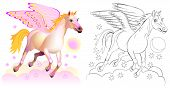 Colorful And Black And White Pattern For Coloring. Fantasy Illustration Of Cute Pegasus, Winged Hors poster