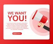 Megaphone Hand, Business Concept With Text We Want You! Vector Stock Illustration poster