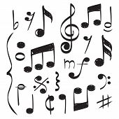 Notes Music. Vector Hand Drawn Muzician Staff Treble Clef For Song Vector Concept Pictures. Illustra poster