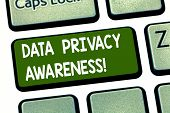 Conceptual Hand Writing Showing Data Privacy Awareness. Business Photo Showcasing Respecting Privacy poster