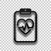Medical Clipboard. Tablet, Paper, Heart And Pulse Line. Cardiology Report Blank. Linear Icon With Th poster