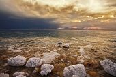 Grandiose spring thunder-storm on the Dead Sea