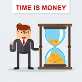 Businessman With Hourglass. Time Management. Time Is Money. Managing Time Resources poster