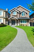 New House With Concrete Pathway Over Front Yard Lawn. Small Family House In Vancouver, British Colum poster