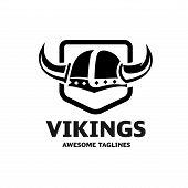 Viking Helmet Logo Vector. Flat Illustration Of Viking Helmet  And Shield Logo Vector poster