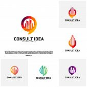 Set Of Modern Building Consulting Agency Logo Design Template. Modern City Chat Logo Concept poster
