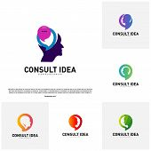 Set Of Modern Business Consulting Agency Logo Design Template. Talk People Head Logo Concept poster