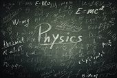 Blackboard Background Chalk Written Physics Formulas And Equations. Education Concept, Opportunity F poster