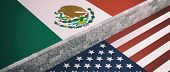 Border Wall Between Us Of America And Mexico Flags. 3D Illustration poster