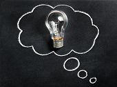 Light Bulb On Chalkboard. Thinking Of New Great Idea. Brainstorming And Creating. Creativity, Innova poster