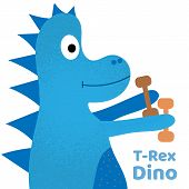 Cute Dinosaur With Dumbbells, Great Design For Any Purposes. Cartoon Animal Vector Illustration. Gym poster