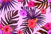 Pink Red Exotic Pattern. Monstera Leaves And Hibiscus Flowers In Summer Print.  Hawaiian T-shirt And poster