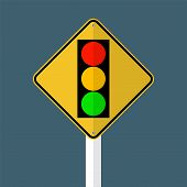 Signal Traffic Light Green Yellow Red Sign Isolated On Grey Sky Background.vector Illustration poster