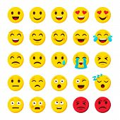 Emoji Set. Emoticon Cartoon Emojis Symbols Digital Chat Objects Vector Icons Set poster