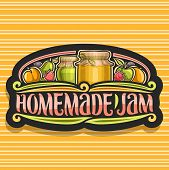 Vector Logo For Homemade Jam, Dark Retro Signboard With 2 Home Made Containers Covered Checkered Fab poster