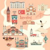 Palace, Istanbul Landmarks. Cartoon Style Vector Illustration, Isolated On White Istanbul City Color poster