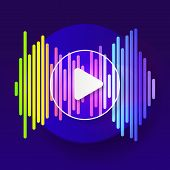 Pulse Music Player. Audio Colorful Wave Logo. Vector Equalizer poster