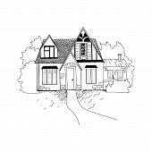 Sketch Of The House Architecture . Free Hand Drawing Vector Illustration. Thumbnail Sketch Of Perspe poster