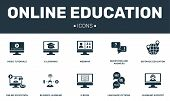Online Education Set Icons Collection. Includes Simple Elements Such As E-learning, Webinar, E-book, poster
