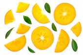 Persimmon Slice With Leaves Isolated On White Background. Top View. Flat Lay Pattern poster